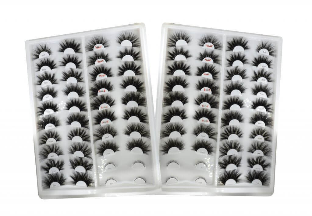 The Destination Mink Lashes Factory to provide you unique long mink lashes.  This is a model display box of 20 pairs. We are all available serve for you .