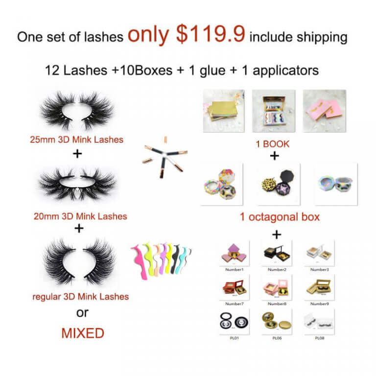 Free shipping eyelashes packages